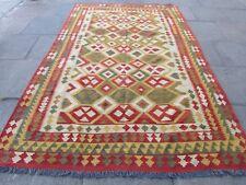 Kilim Old Traditional Hand Made Afghan Oriental  Wool Brown Red Kilim 302x200cm