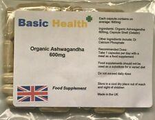 Organic Ashwagandha x 60 Capsules 600mg High Strength Indian Ginseng Made in UK
