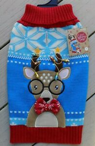 """NEW Holiday Tails Oh Deer Dog Sweater Christmas Size M 15-17"""" Reindeer Red Blue"""