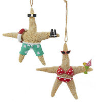 Kurt Adler Whimsical Beach Starfish Couple in Swimsuits Ornament Set of 2
