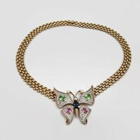 Vintage Panetta Sparkling Pave Rhinestone Butterfly Necklace