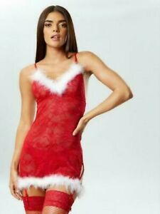 Ann Summers Sexy Miss Santa Red Lace Chemise Size L 16-18 EU 42-44 Free Post NWT