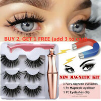 SKONHED 3 Pairs Magnetic Eyelashes With 1Pc Magnetic Eyeliner and Tweezer Set US