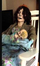 ANIMATED TALKING ROCKING MOLDY MOMMY HALLOWEEN PROP DECORATION CREEPY SEE VIDEO!