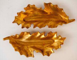 """Pair of Vintage Ceramic Leaf-Shaped Candy Dish Gilt Gold Leaf 10"""""""