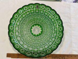"""Caesar Green Cut to Clear Bohemian Czech Glass Center Bowl 13.5"""" new w/sticker"""
