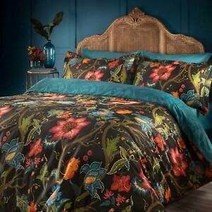 Black Duvet Covers Botanist Floral 100% Cotton Sateen Quilt Cover Bedding Sets
