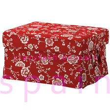 IKEA EKTORP Cover for footstool, Virestad red/white