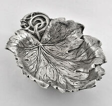 Antique Solid  Sterling Silver Leaf Motif Bowl Art Nouveau By Gorham 338 GRAM.
