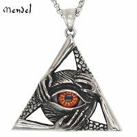 MENDEL Mens Illuminati Egyptian All Seeing Eye Necklace Pendant Stainless Steel