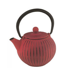 Avanti Cast Iron Teapot Red Ribbed 500ml With Strainer