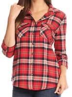 Red/Gray - Women Soft Cotton Plaid Shirt with 2 Front Pockets