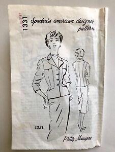 Vintage 1950s SPADEA American Designer Sewing Pattern PHILIP MANGONE Suit Skirt