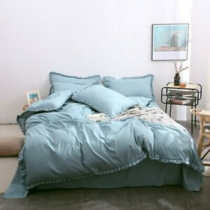 Ruffles Solid Color Korean Bedding Set Duvet Cover Bed Sheet Twin Queen King New