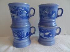 """Currier & Ives 4 Porcelain Blue White Mug Cups Japan 3.5"""" Diameter + 4 VOTIVES"""