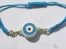 Turquoise Macrame and ceramic Greek Evil Eye adjustable BRACELET