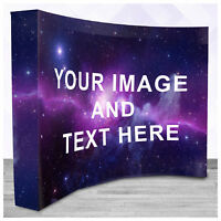 8ft Curved Pop Up Display, Trade Show Exhibit Booth Backdrop Banner Stand