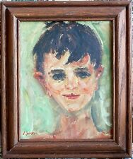 Jacques Zucker American 20th Century Impressionistic Boy Portrait Oil Painting