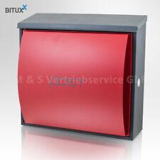 Design Briefkasten Postkasten Rot Grau Wandbriefkasten Metall Hausbriefkasten