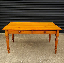 farmhouse country kitchen dining table with drawers - pine - antique vintage