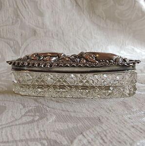 Edwardian Cut Glass Silver Top Pin Box Birmingham 1904 Scatola cristallo argento