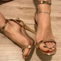 Women Stiletto Ankle Strap Gold Sandals Open Toe Party Buckle High Heel Shoes