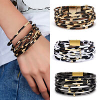 Multi-layer Leopard Leather Magnetic Clasp Bracelet Bangle Wristband Women Gift