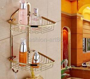 Gold Color Brass 2 layer Bath Shower Caddy Wire Basket Storage Shelves Fba098