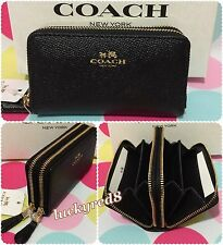NEW COACH Crossgrain Leather Small Double Zip Coin/Card Case Black F57855