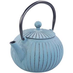 Asiatische Teekanne aus Gusseisen mit Edelstahl-Sieb, 0,5 l, blau