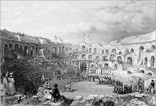 SPORTS -  LUTTE GRECO-ROMAINE dans les ARÈNES de NÎMES - Gravure du 19e siècle