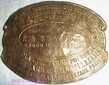 PLAQUE COMPTEUR GAZ PARIS 1923 NICOLAS CHAMON FOIRET & CIE