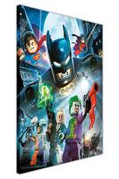 LEGO BATMAN SUPERMAN ROBIN AND VILLAINS ON CANVAS WALL ART PRINTS KIDS PICTURES