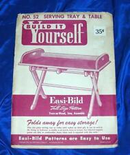 UNUSED VTG 1952 EASI BILD DIY WOODWORKING CRAFT PATTERN 52 Serving Tray & Table