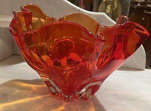 Vintage Art Glass Orange Vase 26cm Length X 16cm Height
