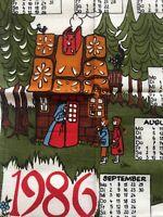 Vintage ~ Calendar Towel ~ Children's Stories ~ German ~ Unused ~ 1986