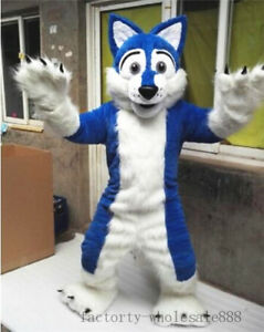 Halloween Long Fursuit Blue Husky Fox Dog Mascot Costume Adult Xmas Xmas