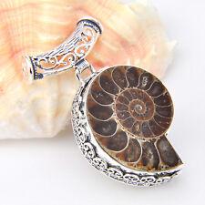 "NEW Amazing Handmade Natural Ammonite Fossil Gemstone Vintage Silver Pendant 2"""