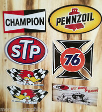 7er Oldschool Aufkleber Set Pennzoil STP Union 76 Oldtimer US Car Sticker Kult
