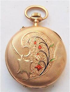 NO RESV HM 1908 9ct Gold & Enamel Ladies Mechanical Pocket Watch Vintage Antique
