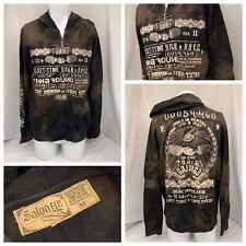 Salvage Hoodie Sweatshirt M Brown Black Full Zip 100% Cotton NWT YGI R9-382CG