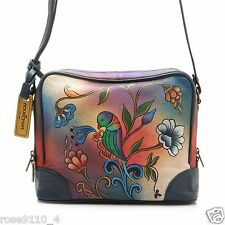 Anuschka Hand-Painted Leather Organizer Cross Body Bag Portugese Parrot NWT
