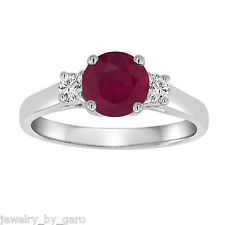 PLATINUM 1.24 CARAT RUBY & DIAMONDS THREE STONE ENGAGEMENT RING BIRTHSTONE
