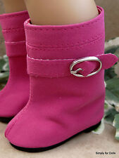 "FUSHIA PINK Suede Buckle DOLL BOOTS SHOES fits 18"" AMERICAN GIRL Doll Clothes"
