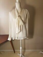 NWT Salvatore Ferragamo Women's Silk Blouse White Cream Size L Italy