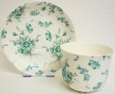 Eden Emerald Large Cup & Saucer Bone China Green Breakfast Set Hand Decorated UK