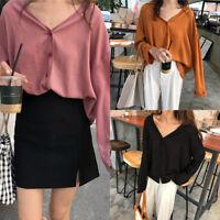 Women V Neck Loose Blouse Shirts Chiffon Tops Long Sleeve Korean Ladies T shirt-