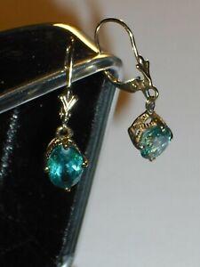 9ct yellow gold aquamarine gemstone, lever back drop or dangle earrings