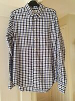 Men's T M Lewin White Multi Check Shirt, Casually Smart, Size M Regular Fit, VGC