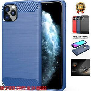 Carbon Fibre Effect Brushed Metal Look iPhone Case 11 Pro Max XS Max XR X 8 7